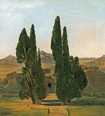 Cypress Trees At The Villa D'este Art Print by Charles Lock Eastlake