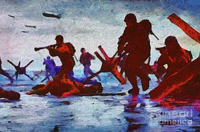 Airforce Painting - D Day Landings, Wwii by Mary Bassett