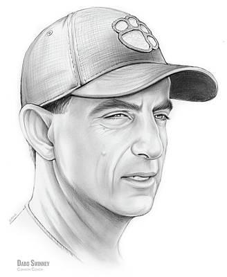 Clemson Drawing - Dabo Swinney by Greg Joens