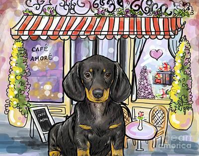 Cute Dachshund Digital Art - Dachshund French Cafe by Nicole Chen