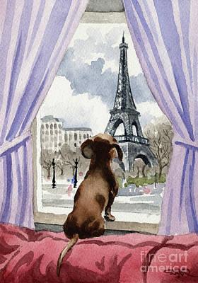 Paris Painting - Dachshund In Paris  by David Rogers