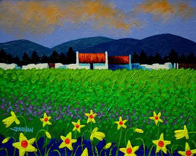 Daffodils Painting - Daffodil Meadow by John  Nolan