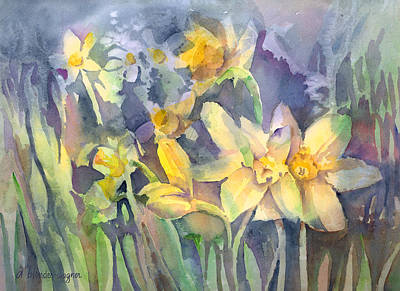 Daffodils Painting - Daffodils by Arline Wagner