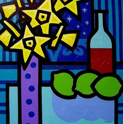 Daffs Wine And Limes Art Print by John  Nolan