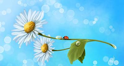 Ladybug Painting - Daisies by Veronica Minozzi