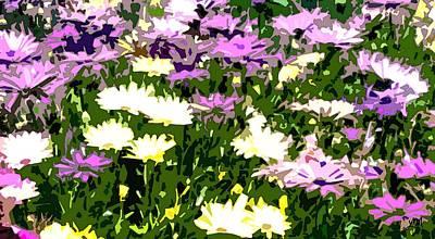 Easter Flowers Digital Art - Daisy Flower Garden Abstract by Linda Mears