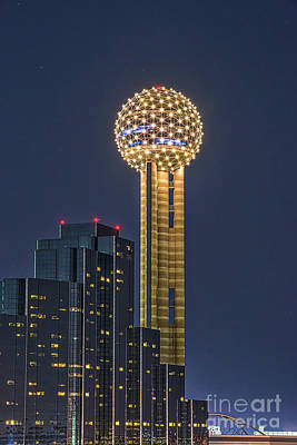 Dallas Skyline Photograph - Dallas Reunion Tower Twilight by Tod and Cynthia Grubbs