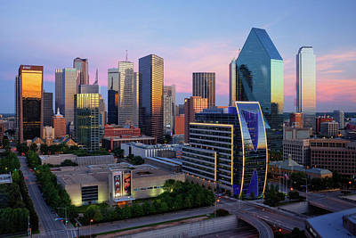 Dallas Skyline At Dusk Print by Jeremy Woodhouse