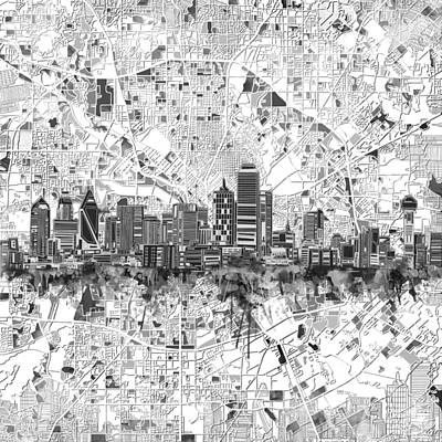 Abstract Digital Painting - Dallas Skyline Map Black And White 5 by Bekim Art