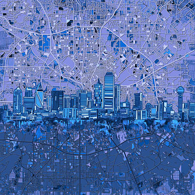 Painting - Dallas Skyline Map Blue 5 by Bekim Art