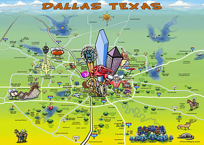 Caricature Painting - Dallas Texas Cartoon Map by Kevin Middleton