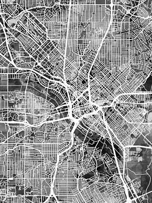 Dallas Digital Art - Dallas Texas City Map by Michael Tompsett