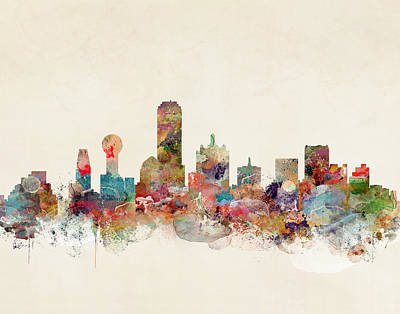 Painting - Dallas Texas Skyline by Bleu Bri