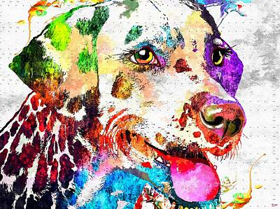 Abstract Of Dogs Mixed Media - Dalmatian Grunge by Daniel Janda