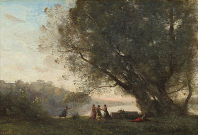 Painting - Dance Under The Trees At The Edge Of The Lake by Jean-Baptiste-Camille Corot