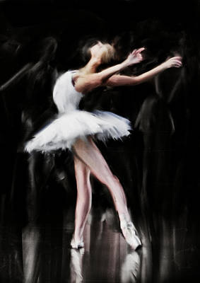 Ballet Art Painting - Dancer In White by H James Hoff