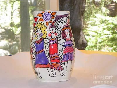 Ceramic Art - Dancing Goddesses by Lisa Dunn