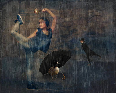Dancer Mixed Media - Dancing In The Rain by Terry Fleckney