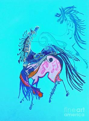 Horse Lovers Drawing - Dancing Musical Horses by Scott D Van Osdol