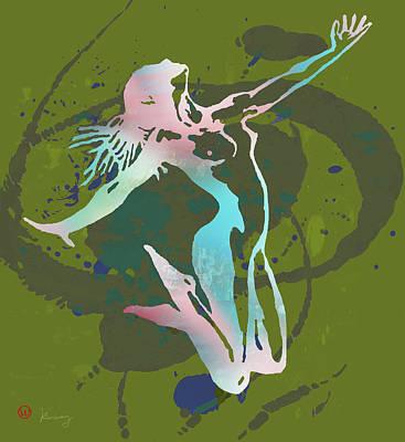 Saxophone Mixed Media - Dancing Nude - Pop Art Poster  by Kim Wang