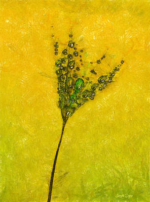 Grass Painting - Dandelion Flower - Pa by Leonardo Digenio