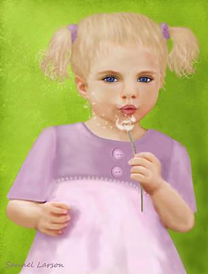 Digital Art - Dandelion Wishes by Sannel Larson