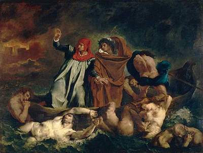 Literature Painting - Dante And Vergil In Hell by Eugene Delacroix