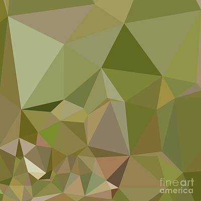 Dark Olive Green Abstract Low Polygon Background Art Print