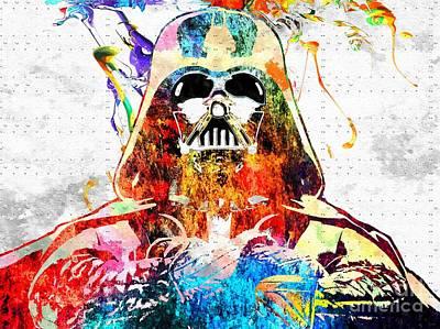 Character Portraits Mixed Media - Darth Vader Grunge by Daniel Janda