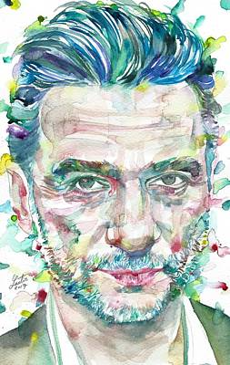 Painting - Dave Gahan - Watercolor Portrait by Fabrizio Cassetta