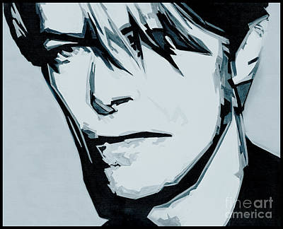 Record Producer Painting - Born Under A Stone Born With A Single Voice. Bowie by Tanya Filichkin