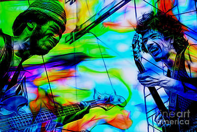 Musicians Mixed Media - David Brown And Santana At Woodstock by Marvin Blaine