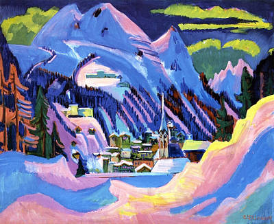 Snowfall Painting - Davos In Snow by Ernst Ludwig Kirchner