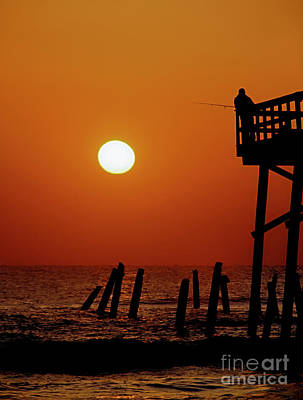 Photograph - Daytona Sun Glow Pier Fishing  by Tom Jelen