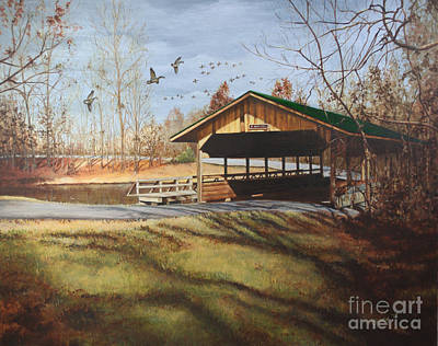 Covered Bridge Painting - Dc Park Covered Bridge by Emily Land