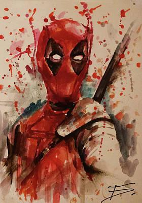 Spiderman Drawing - Deadpool by Tal Dvir