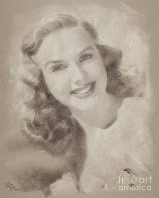 Musicians Drawings Rights Managed Images - Deanna Durbin, Actress Royalty-Free Image by Esoterica Art Agency