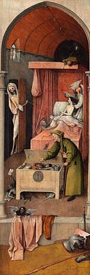 Hieronymus Bosch Painting - Death And The Miser by Hieronymus Bosch