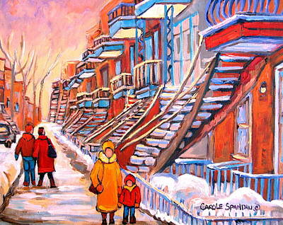 Montreal Buildings Painting - Debullion Street Winter Walk by Carole Spandau