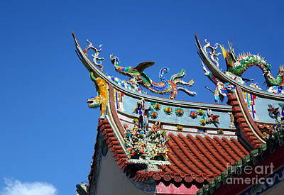 Photograph - Decorated Temple Roof In Southern Taiwan by Yali Shi