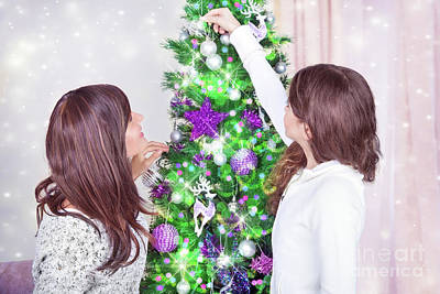 Photograph - Decorating Christmas Tree by Anna Om