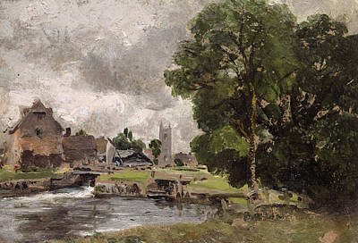 Water Mill Painting - Dedham Lock And Mill by John Constable