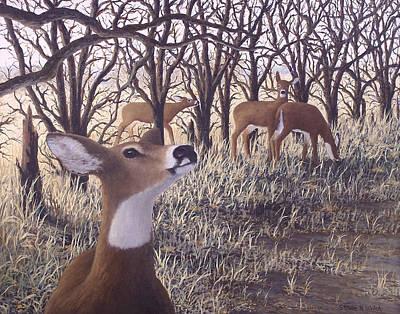 Kansas Oil Painting - Deer Heard by Steven Welch