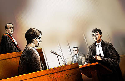 Art Print featuring the painting Defence Attorney Dirk Derstine At The Tori Stafford Murder Trial In London by Alex Tavshunsky
