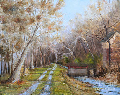 Delaware Scenic Recreational River Painting - Delaware Canal II by Cindy Roesinger