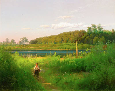 Trout Painting - Delaware Trout Fishing by Hermann Herzog