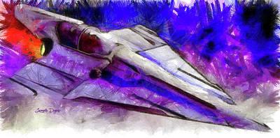 Combat Painting - Delta-12 Skysprite - Pencil Style by Leonardo Digenio