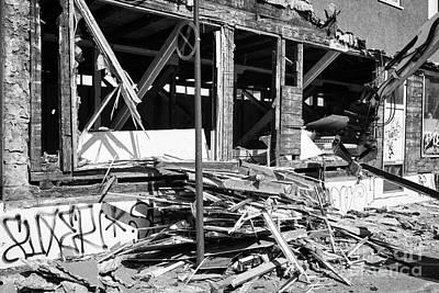 Demolishing Stucco Corrugated Iron Clad Wood Framed Building Reykjavik Iceland Art Print