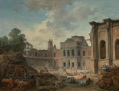 Painting - Demolition Of The Chateau Of Meudon by Hubert Robert