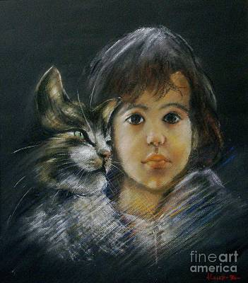 Denese And Cat Art Print